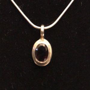 Genuine 925  silver & blk onyx stone pendant